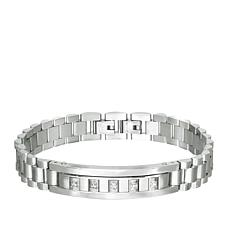 Giorgio Milano Men's Crystal-Accented Stainless Steel Link Bracelet