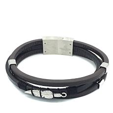 Giorgio Milano Men's Feather Brown Leather Bracelet