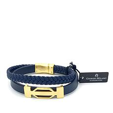 Giorgio Milano Men's Goldtone Layered Navy Blue Leather Bracelet