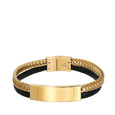 Giorgio Milano Men's Stainless Steel Black and Goldtone Bar Bracelet