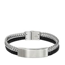 Giorgio Milano Men's Stainless Steel Black and Silvertone Bar Bracelet