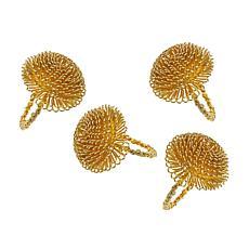 Godinger Allium Bloom Gold Napkin Ring - Set Of 4
