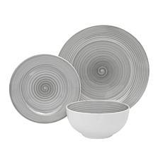 Godinger Swirl Porcelain Gray 12-Piece Dinnerware Set, Service For 4