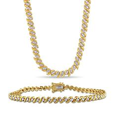 Gold-Tone Sterling 1.50ctw Diamond S-Link Tennis Necklace and Bracelet