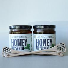 Golden Door 2-pack of Raw Peppermint Honey with Dippers