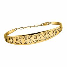 Golden Treasures 14K Gold Polished Diamond-Cut Safety Chain Bangle