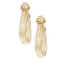 Golden Treasures 14K Italian Gold Flexible Woven Mesh Earrings