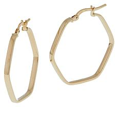 Golden Treasures 14K Italian Gold Hexagon Hoop Earrings