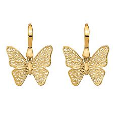 Golden Treasures 14K Polished Filigree Butterfly Earrings