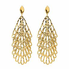 Golden Treasures 14K Tiered Fan Drop Earrings