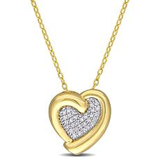 Goldtone Sterling Silver 0.15ctw Diamond Heart Pendant with Chain