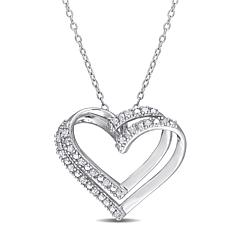 Goldtone Sterling Silver 0.20ctw Diamond Open Heart Pendant with Chain