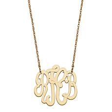 Goldtone Sterling Silver 3-Initial Script Monogram Necklace - Small