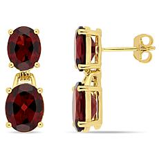 Goldtone Sterling Silver Garnet Dangle Earrings