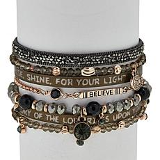"Good Work(s) ""Arise and Shine""  Leather 7-Row Bracelet"