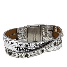 "Good Work(s) ""Only Through Christ"" 3-Row Leather Bracelet"