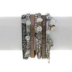 """Good Work(s) """"Your Prayer Answered"""" 7-Row Leather Dangle Bracelet"""