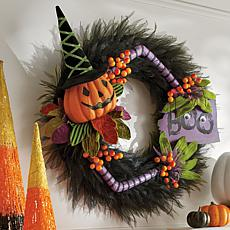 Grandin Road Pumpkin Boo Wreath