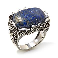 Gray Marcasite and Blue Lapis Sterling Statement Ring