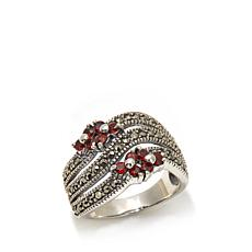 Gray Marcasite and Garnet Floral-Accent Sterling Ring