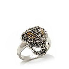 Gray Marcasite Elephant Head Sterling 2-Tone Ring