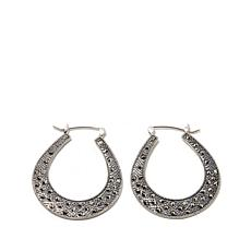 Gray Marcasite Horseshoe-Shaped Sterling Hoop Earrings