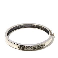 "Gray Marcasite Sterling Hinged 7-1/2"" Bangle Bracelet"