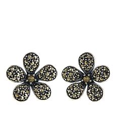 Gray Marcasite Sterling Silver Flower-Design Stud Earrings
