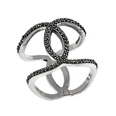 Gray Marcasite Sterling Silver Negative-Space Crossover Ring