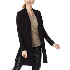 H Halston Long-Sleeve Mixed Media Sweater Cardigan