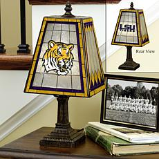 Handpainted Art Glass Lamp - Louisiana State - College