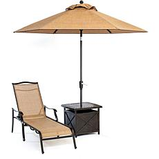 Hanover Monaco Chaise Lounge Chair with 11' Umbrella an