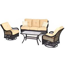 Hanover Orleans 4-Piece Patio Set - Sahara Sand