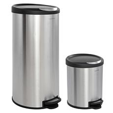 happimess Oscar 8-Gallon Stainless Steel/Black Trash Can with Mini Can