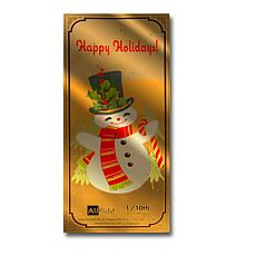 Happy Holidays Snowman  24K Gold Aurum Collectible Note