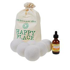 Happy Place Wool Dryer Balls & 2 oz. Essential Oil 7-piece Set