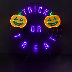 """Harvest Lane 40"""" LED Trick or Treat Wreath with 6-Hour Timer"""
