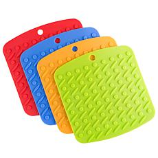 Hastings Home Silicone Kitchen Pot Holders 4-Piece Set