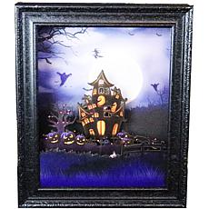 "Haunted Hill Farm 18"" Animated Haunted House Shadowbox w/Spooky Music"