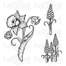 Heartfelt Creations Small Daffodil and Hyacinth Cling Stamp Set