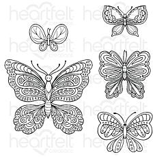 Heartfelt Creations Small Floral Butterfly Cling Stamp Set