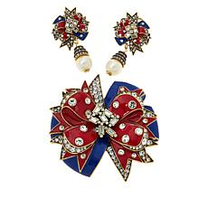 "Heidi Daus ""Americana Swag"" Crystal and Enamel Pin and Earrings Set"