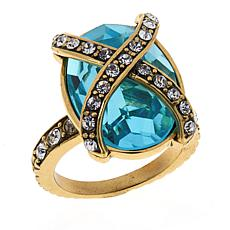Heidi Daus Aqua-Color Crystal Collar Ring
