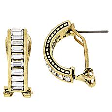 "Heidi Daus ""Baguette"" Crystal Hoop Earrings"