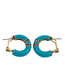 "Heidi Daus ""Bold Move"" Enamel Hoop Earrings"