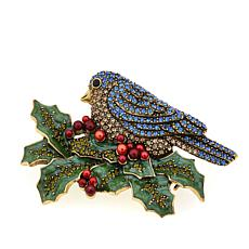 "Heidi Daus ""Bough of Holly"" Enamel and Crystal Pin"