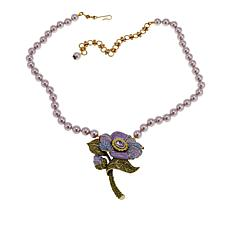 "Heidi Daus ""Budding Romance"" Crystal and Enamel Drop Necklace"