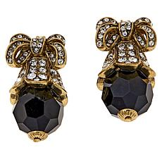 Heidi Daus Crystal-Accented Bow and Black Bead Earrings