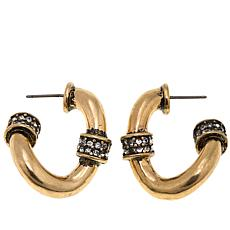 "Heidi Daus ""Curb-acious"" Crystal-Accented Hoop Earrings"