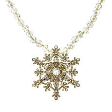 "Heidi Daus ""Deco the Halls"" Pendant/Pin and Beaded Necklace"